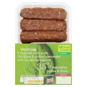 Waitrose 6 Pork, Chickpea & Spinach Sausages