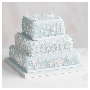 Blossom 3 Tier Pastel Blue Wedding Cake, Fruit (all tiers)