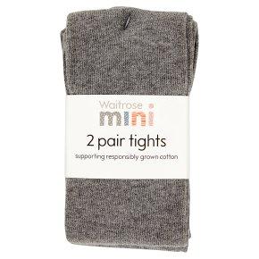 Waitrose 2pk Charcoal tights size: 5-6 yr