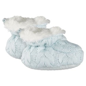 Waitrose Knitted Blue Baby Bootie 6-12M