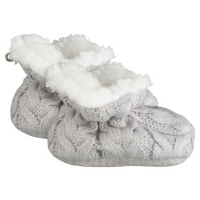 Waitrose Knitted Grey Booties 6-12M