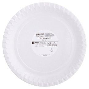 essential Waitrose 23cm paper plates, pack of 25