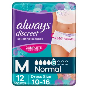 Always Discreet Underwear Incontinence Pants Normal Medium