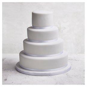 Classic Ribbon' 4 tier  White Wedding Cake, Fruit (base) & Golden Sponge (3 tiers)