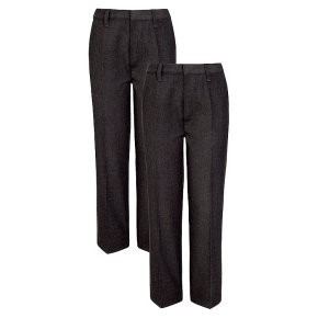 Boys 2 pack basic trousers, grey, 8 years