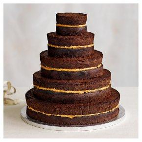 Chocolate Salted Caramel Five Tier Naked Wedding Cake