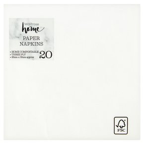 Waitrose Home 33cm white napkins, pack of 20