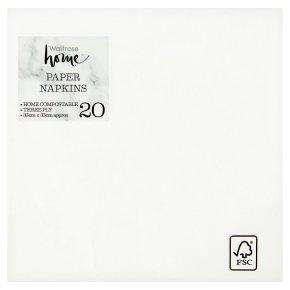 Waitrose Home 33cm white napkins, pack of 20