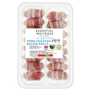essential Waitrose 16 British pork sausages wrapped in bacon