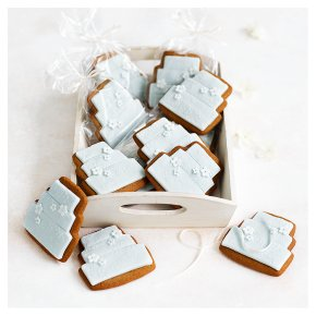 12 Blossom Gingerbread Biscuits - PASTEL BLUE