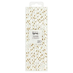 Waitrose Home Gold/Silver Star Paper Straws