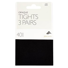 John Lewis 40 denier black opaque tights, pack of 3 (small)