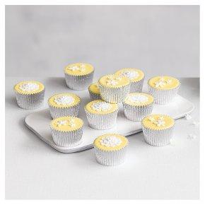 12 Blossom Golden Sponge Pastel Yellow Cupcakes