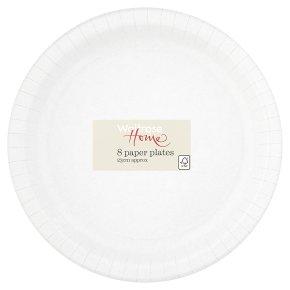 Waitrose Home 23cm white paper plates, pack of 8