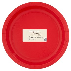 Waitrose Home 23cm red paper plates, pack of 8