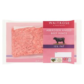 Waitrose Aberdeen Angus beef mince, 15% fat