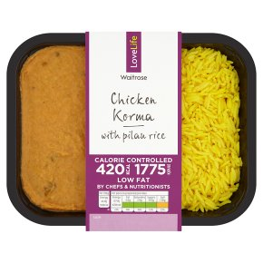 Waitrose LoveLife Calorie Controlled chicken korma & pilau rice