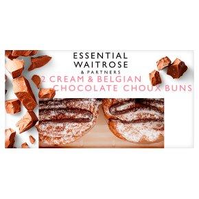 essential Waitrose Cream and Belgian Chocolate Choux Buns