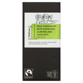 Waitrose 1 pistachio, hazelnut & almond milk chocolate