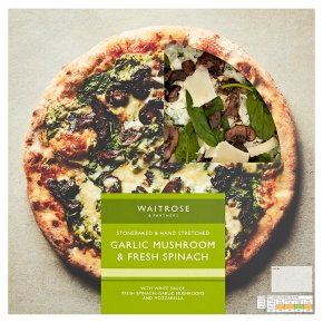Waitrose hand stretched garlic mushroom & spinach pizza