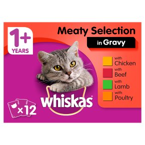 WHISKAS 1+ Cat Pouches Meaty Selection in Gravy 12 x 100g