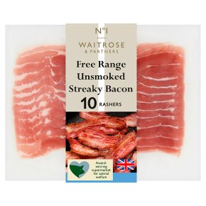 Waitrose 1 free range air dried unsmoked streaky bacon
