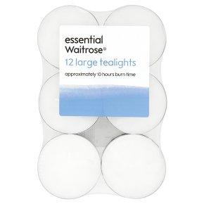 essential Waitroseential large tealights, pack of 12
