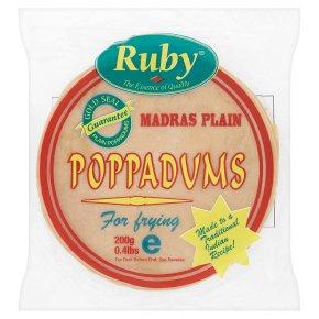Ruby madras plain poppadums