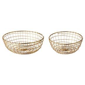 Waitrose Dining 2 Round Wire Baskets