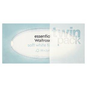 essential Waitrose soft white tissues, twin pack