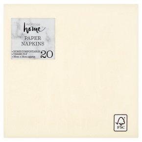 Waitrose Home 33cm cream napkins, pack of 20