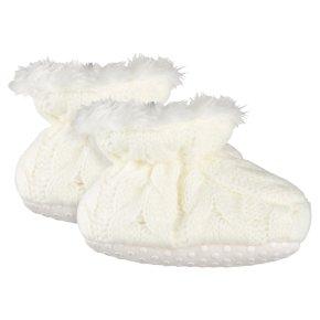 Waitrose Knitted Cream Booties 12-18M
