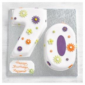 70th Birthday Flowers Cake