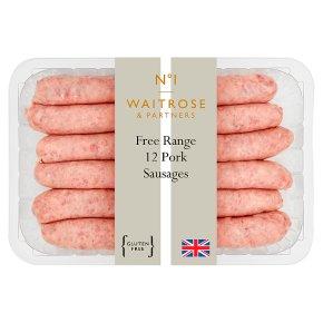 Waitrose 1 free range 12 pork sausages