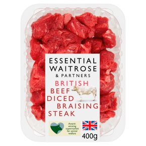 essential Waitrose British beef diced braising steak