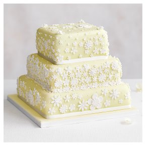 Blossom 3 Tier Pastel Yellow Wedding Cake, Chocolate Salted Caramel (all tiers)