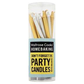 Waitrose Cooks' Homebaking gold & silver candles & holders