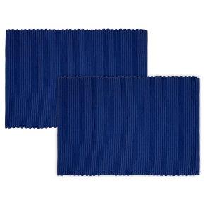 Waitrose blue ribbed placemats blue, set of 2