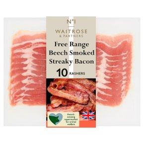 Waitrose 1 free range smoked streaky bacon, 10 rashers