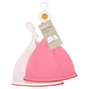 Waitrose 2PK GIRLS PINK SPOT/STRIPE KNOTT