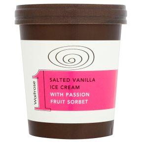 Waitrose 1 salted vanilla ice cream with passion fruit sorbet