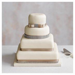 Diamante 4 Tier Ivory Wedding Cake, Golden Sponge (all tiers)
