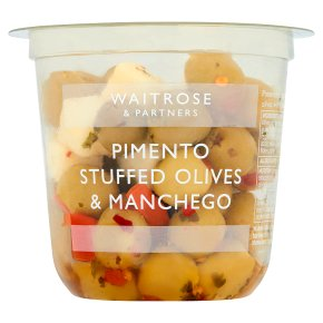 Waitrose pimento stuffed olives with manchego cheese in a chilli dressing