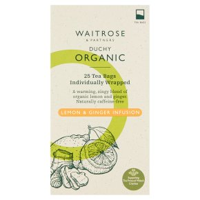 Waitrose Duchy Organic lemon & ginger infusion tea, 25 bags