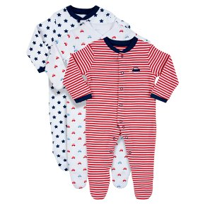 Waitrose 3PK Stars&Cars S/Suits 3-6M