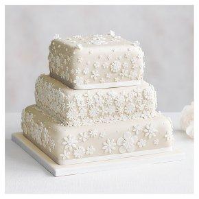 Blossom 3 Tier Ivory Wedding Cake, Fruit (Base tier) & Lemon Sponge (top 2 tiers)