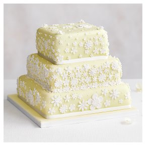 Blossom 3 Tier Pastel Yellow Wedding Cake, Fruit (all tiers)