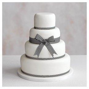 Classic Ribbon' 4 tier  White Wedding Cake, Fruit (base) & Chocolate Sponge (3 tiers)