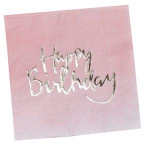 Ginger Ray Happy Birthday Napkins Ombre