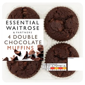 essential Waitrose 4 Double Chocolate Muffins